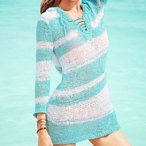 Victoria's Secret Green Hooded Crochet Cover Up SP
